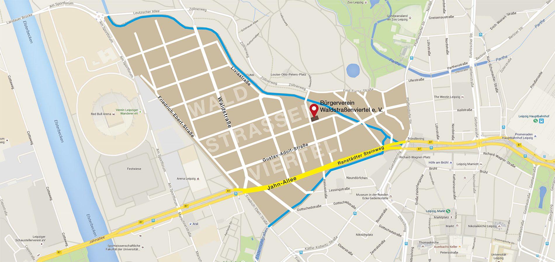 Kaerw Waldstraßenviertel Übersicht; Grafik: Reichelt Kommunikationsberatung / GoogleMaps