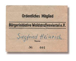Migliedskarte Nr. 001: Siegrfied Heinrich / Bürgerverein Waldstraßenviertel e. V.; Repor: Petra Cain