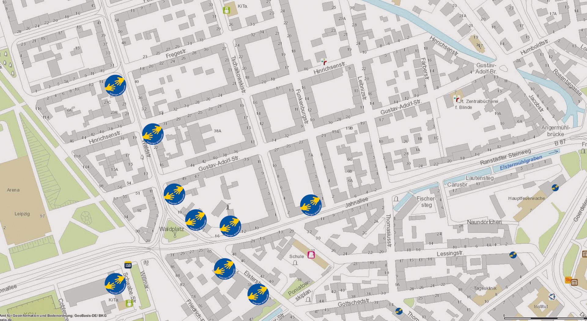 Übersicht Leipziger Hilfepunkte im Waldstraßenviertel; Grafik: Andreas Reichelt / Stadt Leipzig