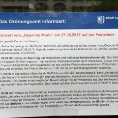Verkehrseinschränkungen zum Depeche Mode Konzert