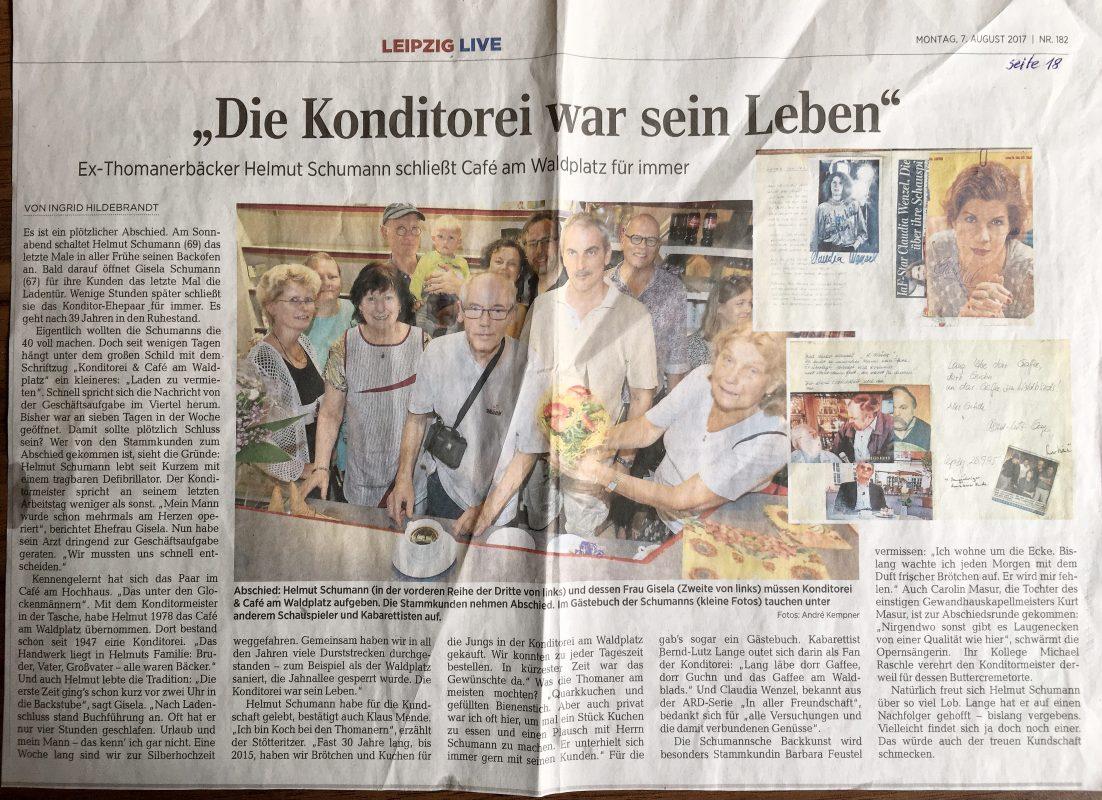 Café am Waldplatz schließt, Artikel LVZ vom 7.8.2017, Foto: A. Klempner, Artikel: I. Hildebrandt