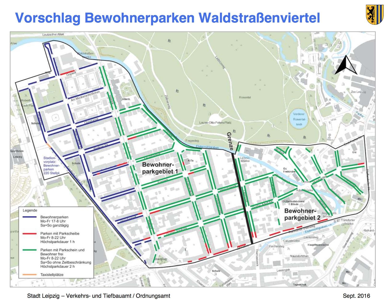Vorschalg Bewohnerparken Waldstraßenviertel; Stadt Leipzig, Verkehrs- und Tiefbauamt 2016