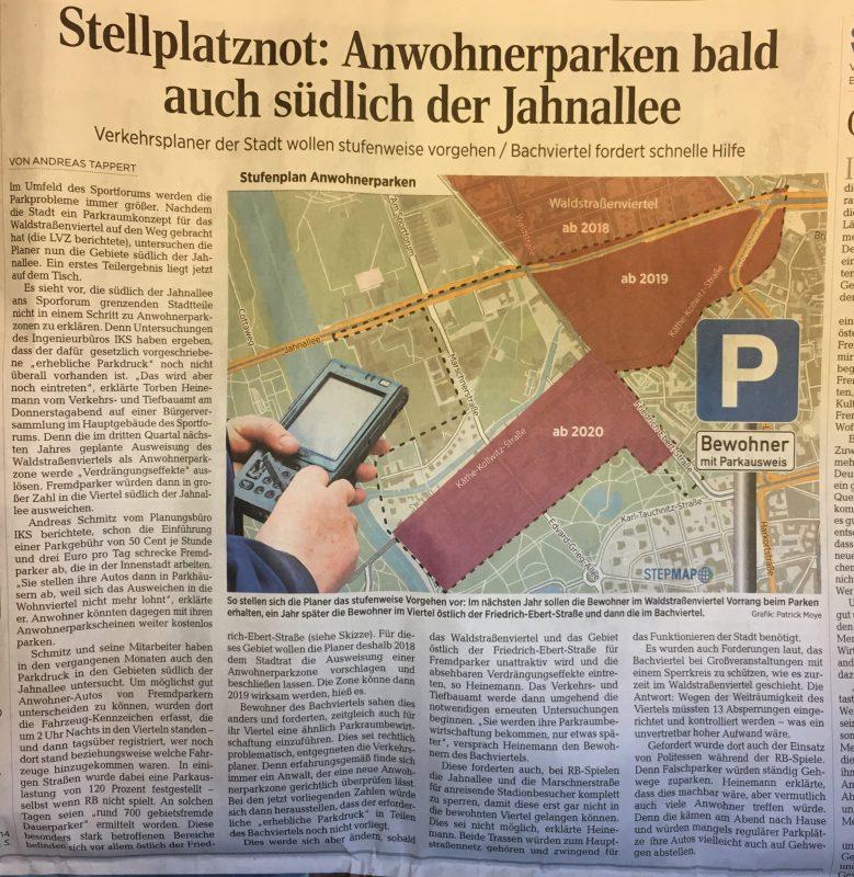 Artikel zum Anwohnerparken südlich der Jahnallee, ein Bericht der LVZ vom 20. Oktober 2017