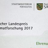 Ehrenurkunde beim Landespreis für Heimatforschung 2017 gewonnen