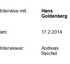Interview mit Herrn Goldenberg