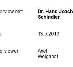 Interview mit Dr. Hans-Joachim Schindler