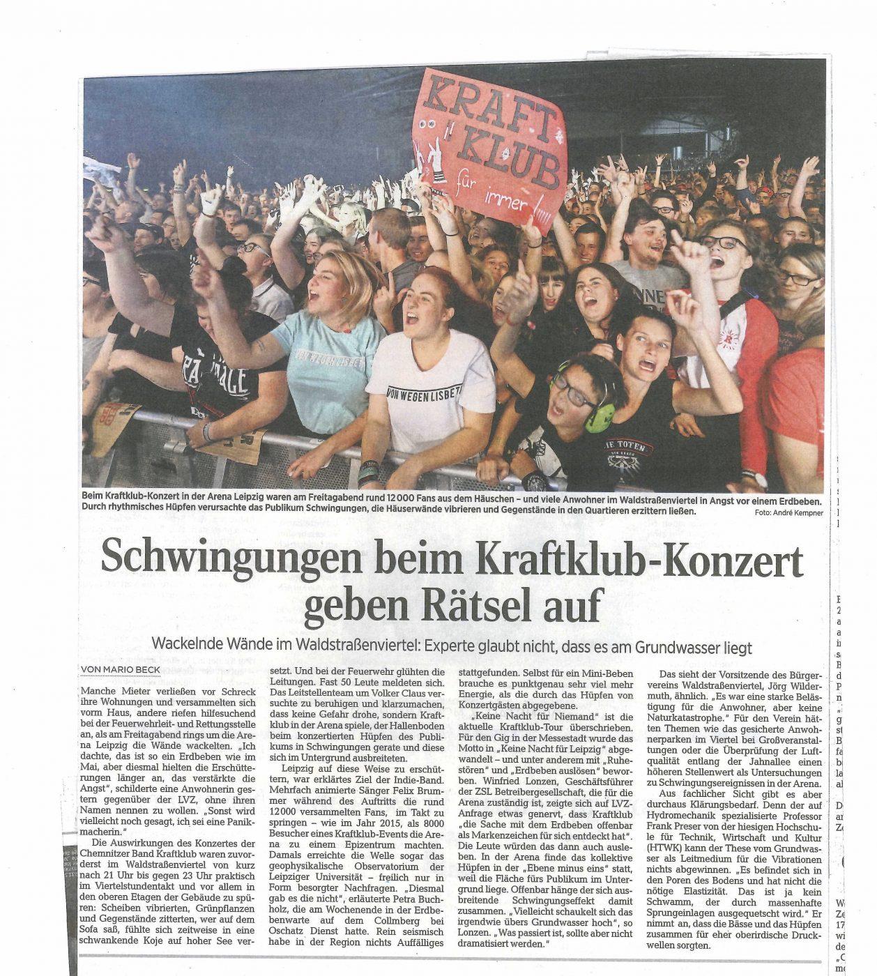 LVZ-Artikel vom 6.11.2017 zum Minibeben durch Kraftclub-Konzert