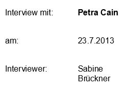 Interview mit Petra Cain