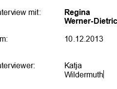 Interview mit Regina Werner-Dietrich