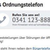 Hinweis auf das Ordnungstelefon der Stadt Leipzig