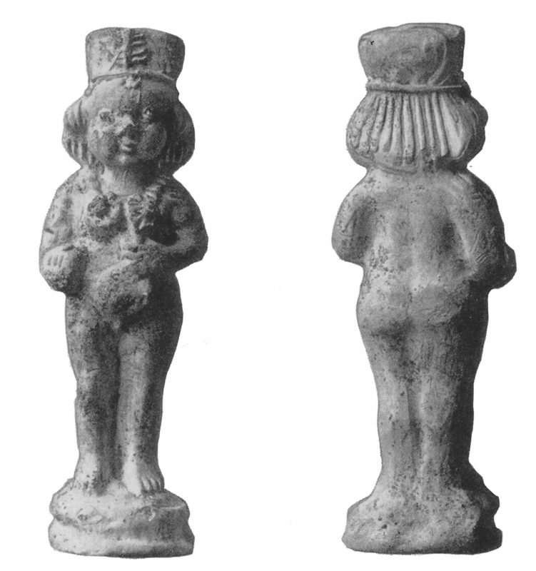 Knäblein mit Blume und Ball, mittel- alterliches Kinderspielzeug aus weißem Ton, gefunden am Ranstädter Steinweg, Quelle: Stadtgeschichtliches Museum Leipzig