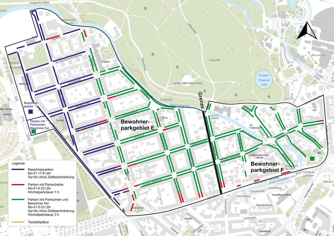 Grafik Übersicht Bewohnerparken Waldstraßenviertel Leipzig