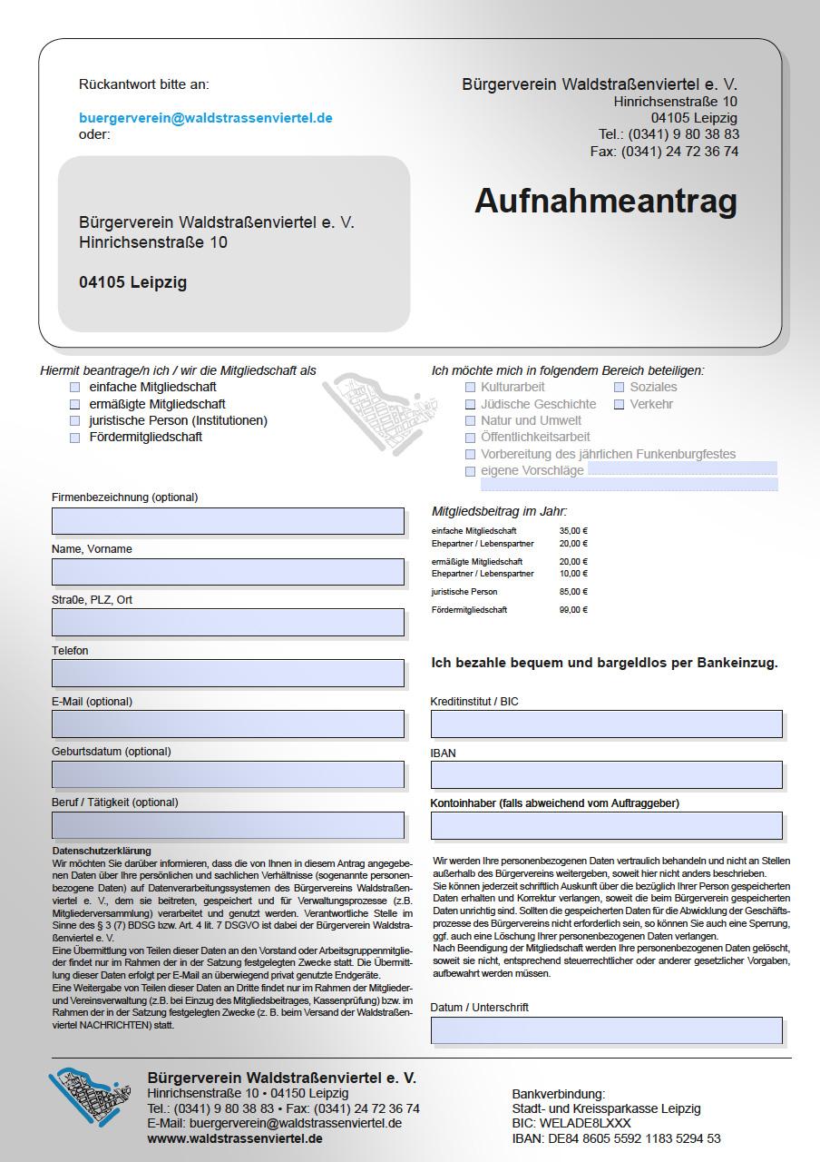 Mitgliedsantrag Bürgerverein Waldstraßenviertel.de